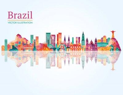 Plakat Brazylia Landmark skyline. ilustracji wektorowych