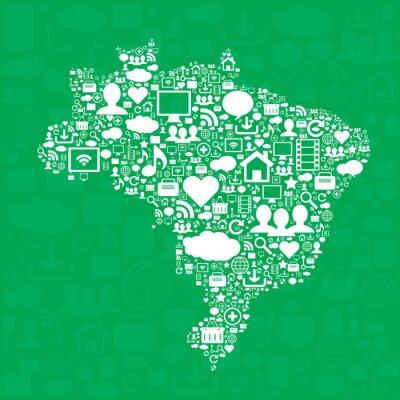 Plakat Brazylia mapę z ikonami.