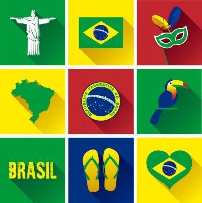 Plakat Brazylia Płaski zestaw ikon. Zestaw Vector Graphic płaskich ikon reprezentujących zabytków i symboli Brazylii.