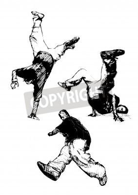 Plakat breakdancer trio