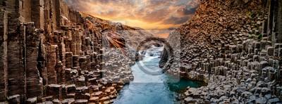 Plakat Breathtaking view of Studlagil basalt canyon, Iceland, Europe.