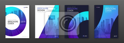 Plakat Brochure cover design layout set for business and construction. Abstract geometry whith colored cityscape vector illustration on background. Good for annual report, industrial catalog design.