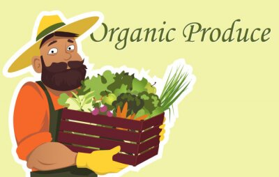 Plakat Brodaty rolnik lub ogrodnik w kapelusz gospodarstwa drewniane pudełko wypełnione świeżymi warzywami i owocami, kopia przestrzeń po prawej stronie, EPS 8 ilustracji wektorowych, bez folii