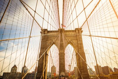 Plakat Brooklyn Bridge i Manhattan Skyline