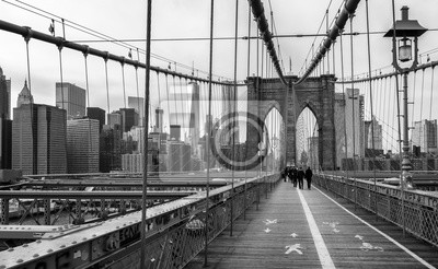 Plakat Brooklyn Bridge w Nowym Jorku, USA.