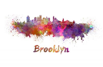 Plakat Brooklyn skyline w akwarela