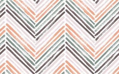 Plakat Brush stroke chevron zig zag seamless pattern.