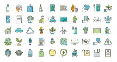 Plakat bundle of ecology friendly set icons vector illustration design