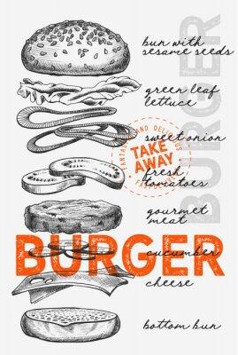 Plakat Burger illustration for food restaurant and truck on vintage background.
