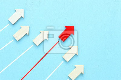 Plakat Business competition concept, red arrow leading the race