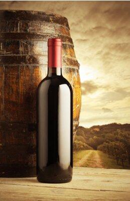 Plakat butelkę czerwonego wina