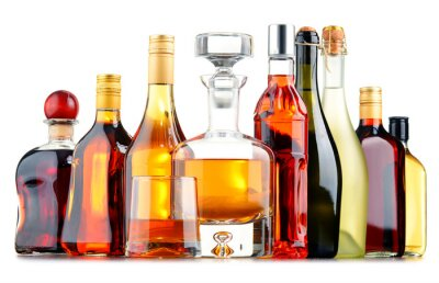Plakat Butelki z rozmaitych napojów alkoholowych