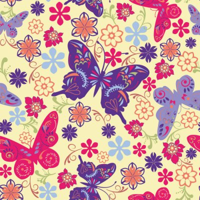 Plakat Butterfly and Flower Seamless Pattern - Illustration