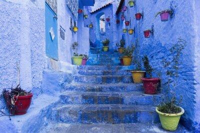 Plakat Calles de la Hermosa Ciudad Azul de Chefchaouen, Maroko