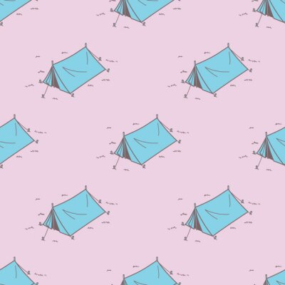 Camping Namiot Piknik Seamless Pattern Wektor tła tapety różowe