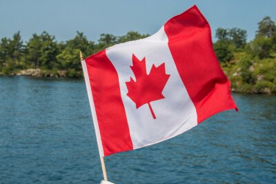 Plakat Canadian Flag blowing in the wind Thousand Islands Canada Ontario