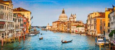 Plakat Canal Grande panorama na zachodzie słońca, Venice, Włochy