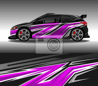 Plakat Car wrap decal design vector, custom livery race rally car vehicle sticker and tinting.