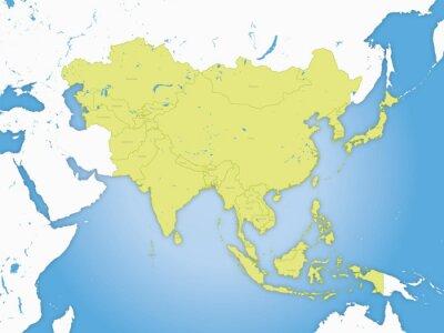 Plakat Carte asie, frontières et fleuve