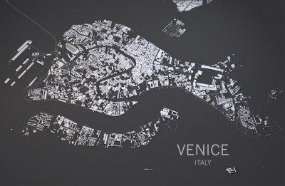 Plakat Cartina di Venezia, Italia, vista satellitare, mappa 3d