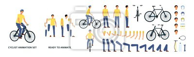 Plakat Cartoon character with bicycle animation kit, young man riding a bike with helmet, movement constructor with separate body parts and limbs