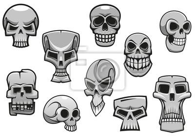 Cartoon czaszki ludzkie przerażające Halloween