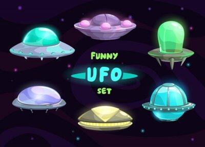 Plakat Cartoon fantastyczne ufo zestaw