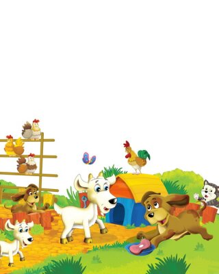 Plakat Cartoon farm scene with animal goat having fun on white background - illustration for children