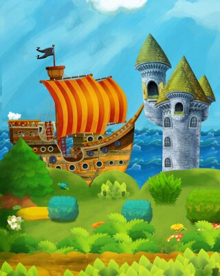 Plakat cartoon forest scene with prince and princess standing on path near the forest and sea shore and pirate ship is docked hidden and castle tower - illustration for children