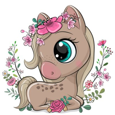 Plakat Cartoon Horse with flowers on a white background