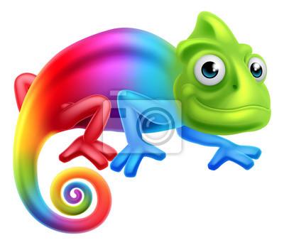 Plakat Cartoon Rainbow Chameleon
