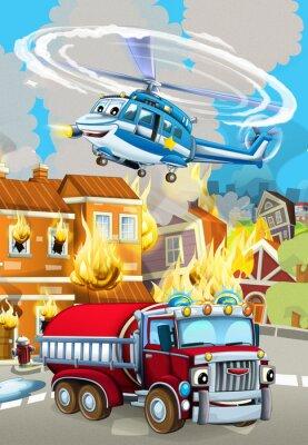 Plakat cartoon scene with fireman car vehicle near burning building - illustration for children