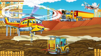 Plakat cartoon scene with industry cars on construction site and flying helicopter - illustration for children