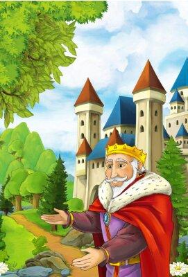 Plakat Cartoon sceny z happy powitanie króla kogoś - Handsome Man - manga ilustracji dla dzieci