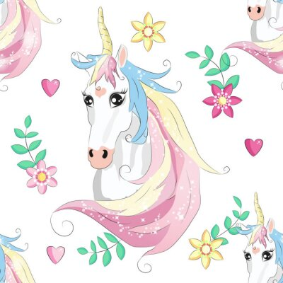 Plakat Cartoon seamless pattern. Unicorn with rainbow and clouds. For designed print.