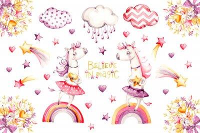 Plakat Cartoon unicorn set. watercolor for decoration design. Funny pink animal princess collection. Princess rainbow poster. Nursery cute print. Decoration element. Magic fantasy design.
