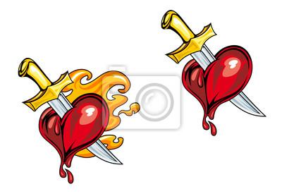 Cartoon z nożem serce