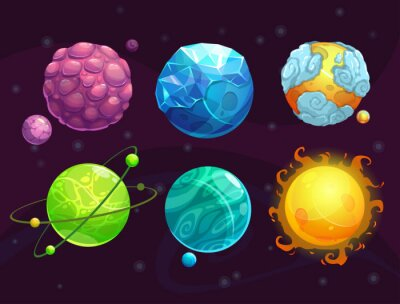 Plakat Cartoon zestaw fantazji obce planety