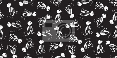 Cat isolated Halloween cat Skull skeleton seamless pattern bone Ghost wallpaper background doodle