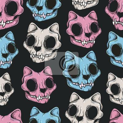 Plakat Cat skull seamless pattern. Scary background. Line art. Modern background