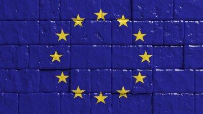 Plakat Cegła ściany malowane flaga Unii Europejskiej