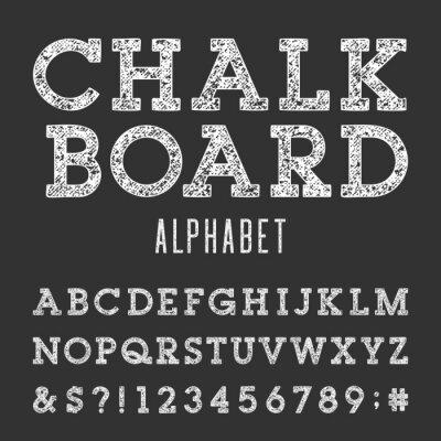 Plakat Chalkboard Alfabet wektor czcionki