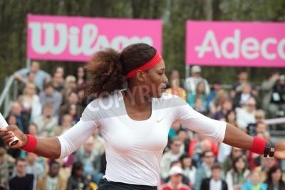 Plakat Charków, Ukraina - 21 kwietnia 2012 Mecz pomiędzy Serena Williams i Elina Svitolina podczas Fed Cup remisu pomiędzy USA i Ukrainy w Superior Golf Spa Resort, Charkowie na Ukrainie na 21 kwietnia 2012