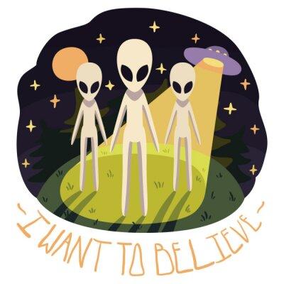 Plakat Chcę wierzyć, plakat wektor (tła) z obcymi na wzgórzu i UFO w nocy z pełni księżyca i gwiazd (cartoon stylu)