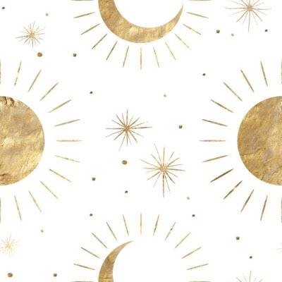 Plakat chic golden luxurious retro vintage engraving style. image of the sun and moon phases. culture of occultism. Vector graphics