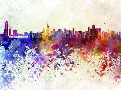 Plakat Chicago skyline w akwarela