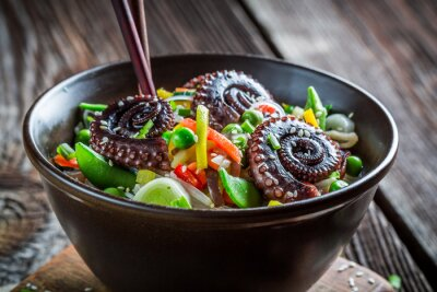 Plakat Chinese mix vegetables with octopus