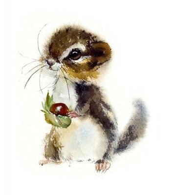 Plakat Chipmunk. Watercolor hand drawn illustration.
