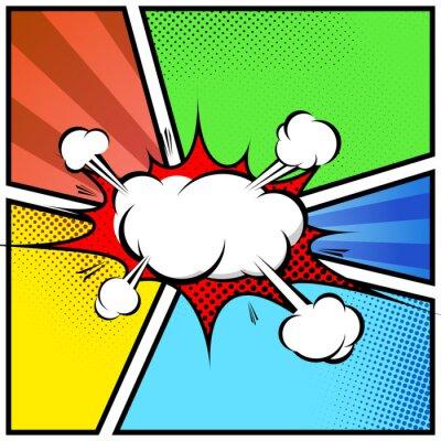 Plakat Chmura eksplozja abstrakcyjne styl komiksowy szablon ramki strony