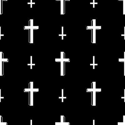 Chrystus przecinająca Halloweenowa ikona wektorowy bezszwowy wzór odizolowywał tapetowego tło